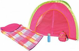 18 Inch Girls Doll Camping Play Set with Tent Sleeping Bag B