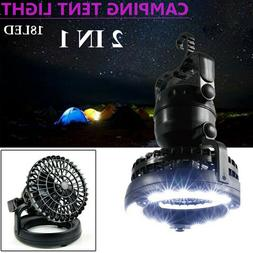 2In1 Portable LED Camping Light Ceiling Fan Lantern Tent Lam