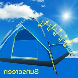 3-4 People Protect Sunscreen Waterproof Blue Tent Auto Pop U