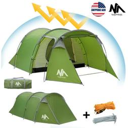 3-4 Person Family Camping Tent Double Layer 2 Rooms Waterpro