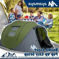 Large 5-6Person Dome Family Pop Up Tent Double Layer Waterpr