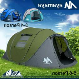 4-6 Person Large Instant Pop Up Dome Family Camping Tent Wat