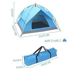 4-Person Camping Tent Large Family Double Layers Two Doors H