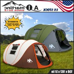 5-6 Person Double Layer Camping Pop Up Tent Family Instant W
