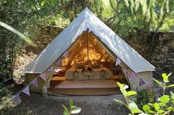 5M Canvas Bell Tent Waterproof Hunting Glamping Camping Tent