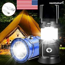 80000LM LED Camping Lamp Solar Power Flashlight Rechargeable