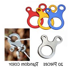 20 PCS Aluminum Guyline Cord Adjuster, 3 Holes Adjusters for
