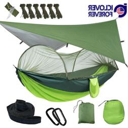 Camping Hammock With Mosquito Net Mesh Cover Portable / Rain