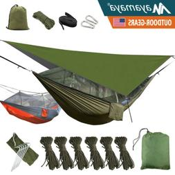 Camping Hammock With Mosquito Net Mesh + Rain Fly Tarp Cover