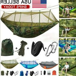 Double Camping Hammock with Mosquito Net Nylon Tent Hanging