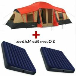 Family Camping Instant Pop Up Tent 10 Person 3 Rooms Cabins