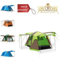 Family Camping Tent Waterproof Pop Up 4 Door Green Blue Oran