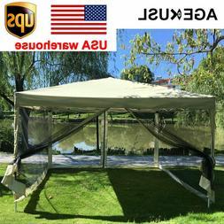 AGEKUSL Gazebo Canopy 10'x10' Pop Up Tent Camping Mesh Mosqu
