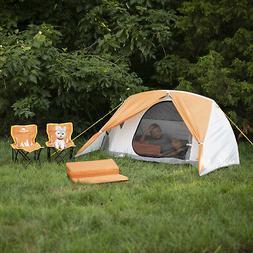 Kids Camping Kit W/ Tent Chairs +Sleeping Pads +2 Mesh Pocke