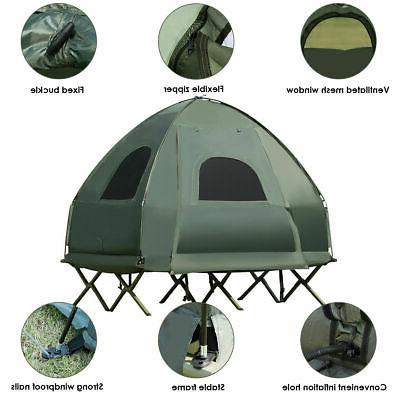 2-Person Portable Tent/Camping Cot w/ Mattress Sleeping