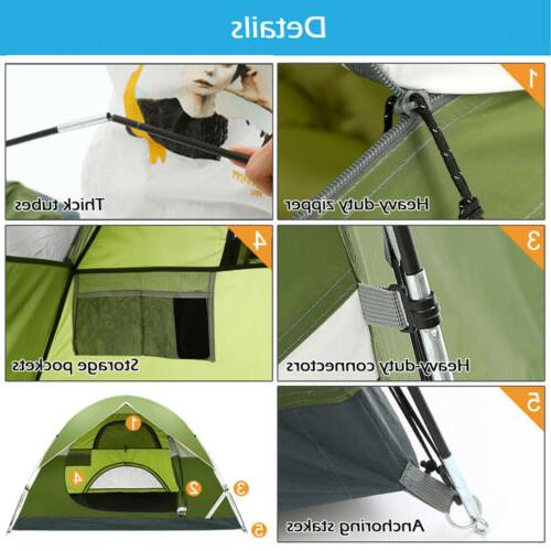 3-4 Camping Tent Double Waterproof Hiking Beach Backpacking