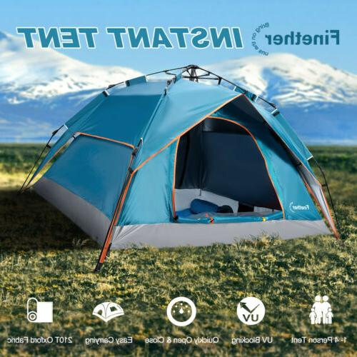 4 person automatic instant pop up camping
