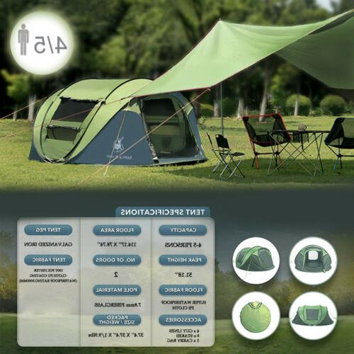 4 Person Tent Instant Waterproof Travel Sun Blue Big