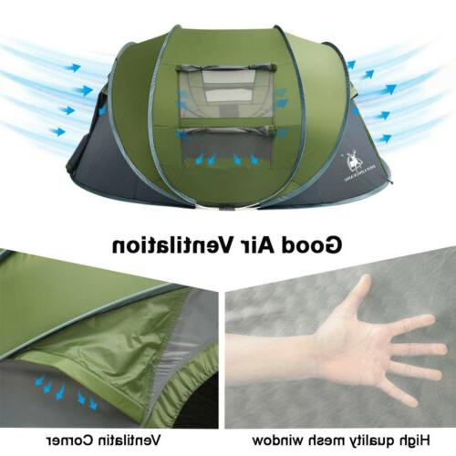 4 Person Camping Tent Pop Waterproof Travel Blue