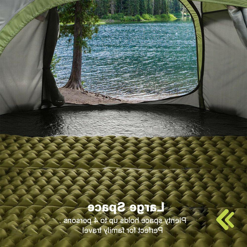4 Person Camping Tent Instant Waterproof Blue