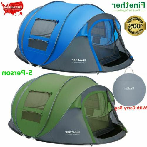 5 person instant pop up camping tent