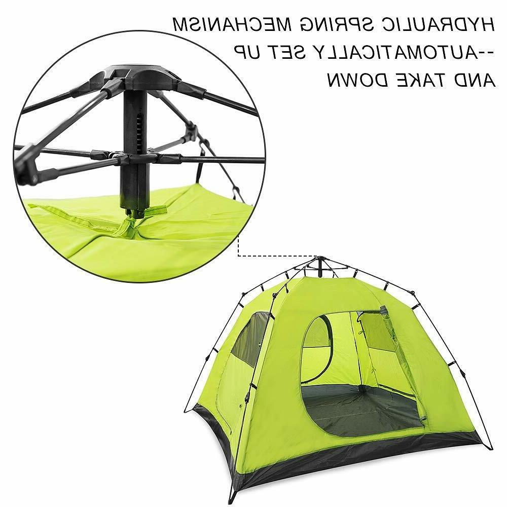 Family Camping Tent Waterproof Pop 4 Green Hiking