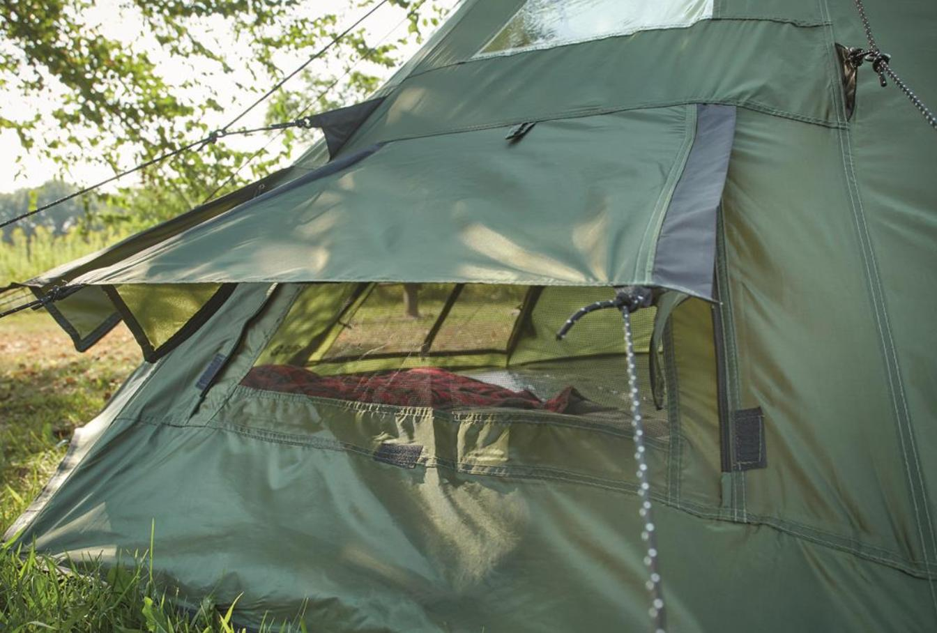 Family Teepee Sleeps 6 People Green Camp Shelter