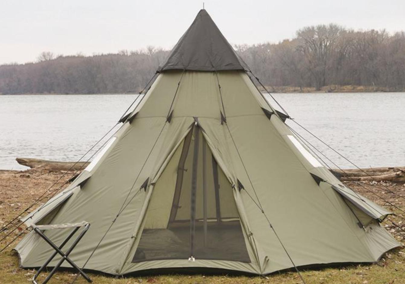Family Teepee Tent Sleeps 6 Green Camp Shelter
