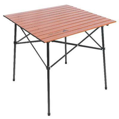 Hazel Creek Square Folding Aluminum Roll-Top Camp Table, Woo