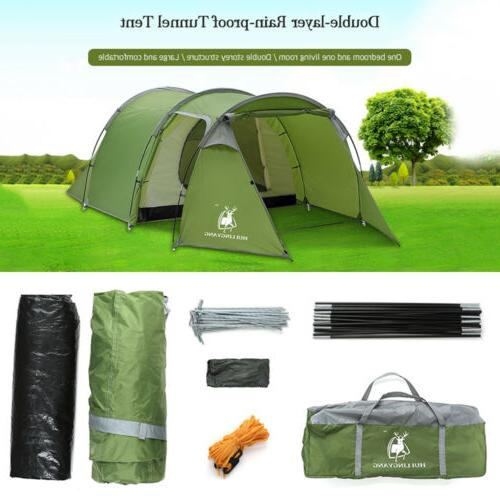5-6 Family Tunnel Tent Waterproof Hiking Cabin