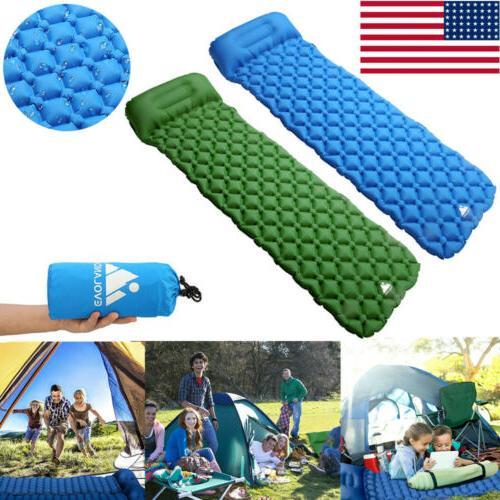 outdoor camping inflating air mat mattress pad