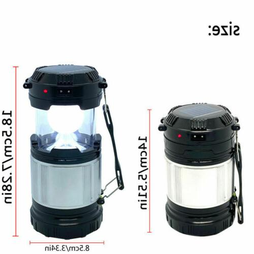 Solar LED Rechargeable Camping Lantern Bright Tent Lamp USB