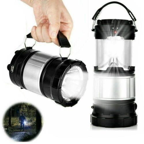 Solar Flashlight Rechargeable Camping Lantern Tent USB
