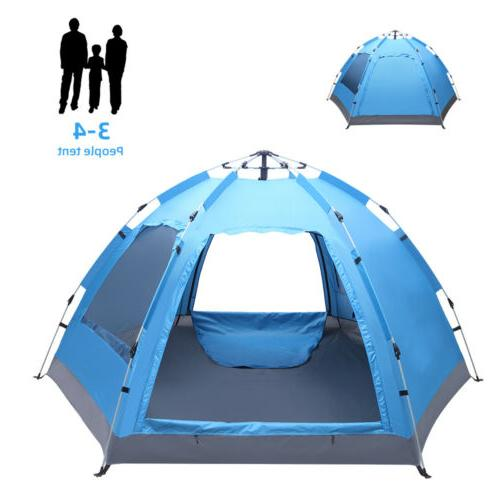 3-4 Person Tent Up Waterproof Double Canopy