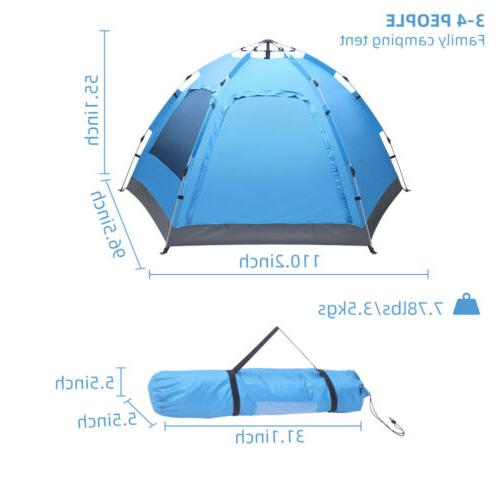 3-4 Person Dome Tent Instant Up Waterproof Layer Sun Canopy