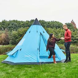 Large Family Teepee Camping Tent Sleeps 5-6 Waterproof Tall