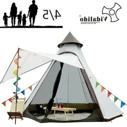 Large Teepee  Family Camping Tent Sleeps 4-5 Rain Fly Waterp