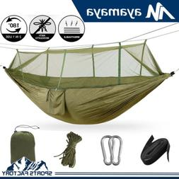 2 Person Portable Camping Hiking Hammock Mosquito Net Swing