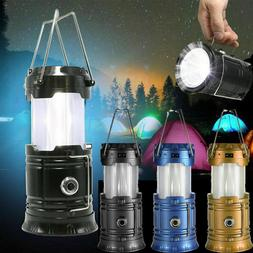 Solar Power Rechargeable Camping Tent Lantern Light LED Flam