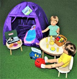 Tent Camping Purple Coleman for 18 in American Girl Doll Acc