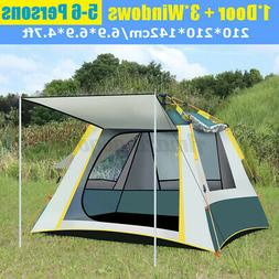 US 8-10 Person Family Camping Tunnel Tent Waterproof Shelter
