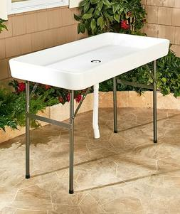 White Fill And Chill Table Party Tailgate Camping Ice Cooler